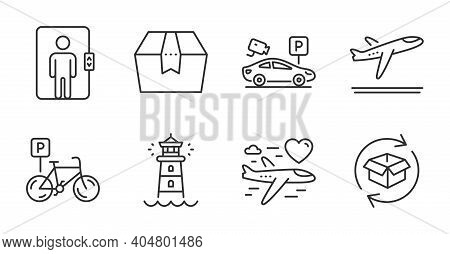 Honeymoon Travel, Package Box And Departure Plane Line Icons Set. Parking Security, Lighthouse And E