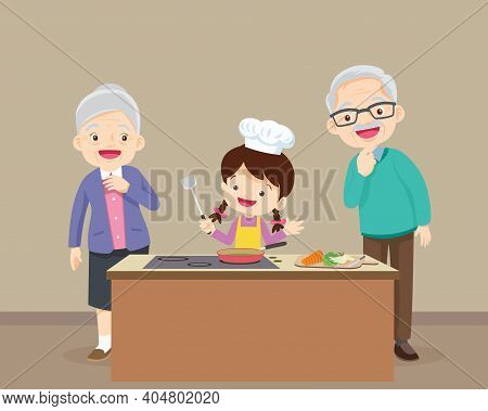 Happy Family With Grandparent And Grandchild Cooking In Kitchen