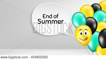 End Of Summer Sale. Smile Balloon Vector Background. Special Offer Price Sign. Advertising Discounts