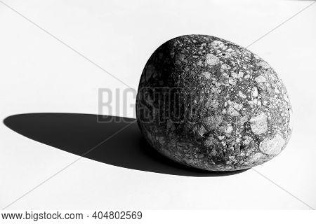 Big Round Granite Rock On White Background