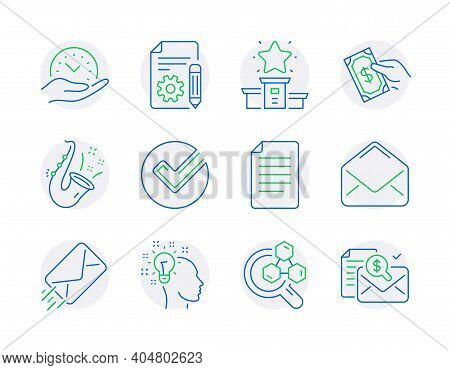 Education Icons Set. Included Icon As Documentation, File, E-mail Signs. Chemistry Lab, Safe Time, J
