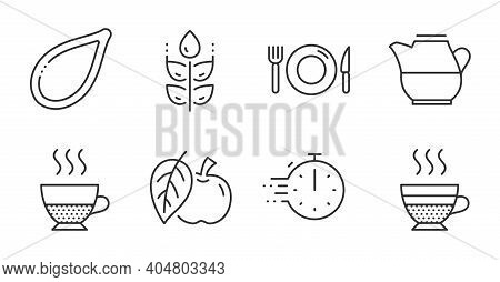 Milk Jug, Food And Doppio Line Icons Set. Cooking Timer, Apple And Gluten Free Signs. Cafe Creme, Pu