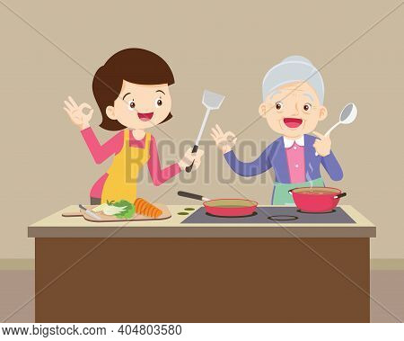 Happy Daughter Looking At Her Grandma While Cooking ,lovely Grandmother And Woman Cooking In Kitchen