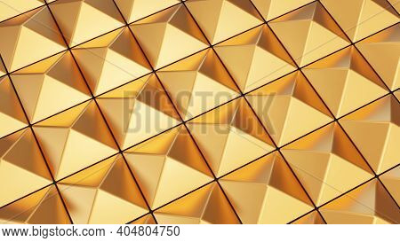 Relief Surface With Golden Pyramids. Luxury 3d Rendered Background.
