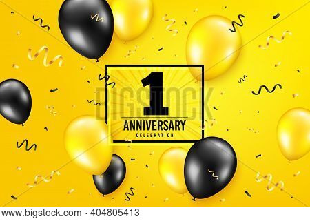 1 Year Anniversary. Anniversary Birthday Balloon Confetti Background. One Year Celebrating Icon. Cel