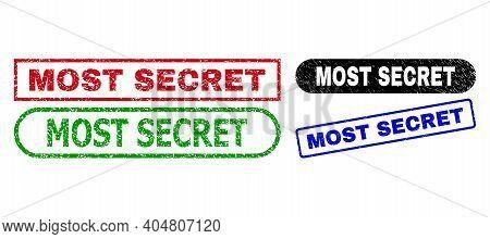 Most Secret Grunge Seal Stamps. Flat Vector Grunge Seal Stamps With Most Secret Slogan Inside Differ