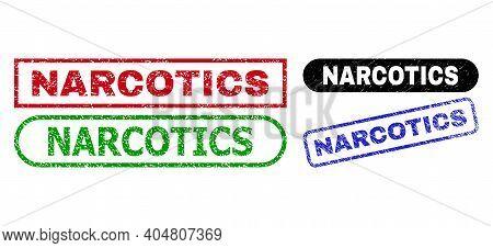 Narcotics Grunge Seal Stamps. Flat Vector Grunge Seal Stamps With Narcotics Text Inside Different Re