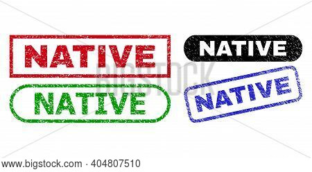 Native Grunge Stamps. Flat Vector Grunge Seal Stamps With Native Phrase Inside Different Rectangle A