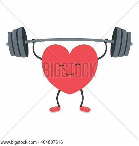 Strong Heart With A Barbell. Vector Illustration.
