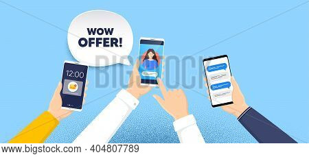 Wow Offer. Phone Chat Messages. Special Sale Price Sign. Advertising Discounts Symbol. Wow Offer Spe