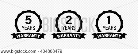 5, 2 And 1 Years And Lifetime Warranty Label Icon.