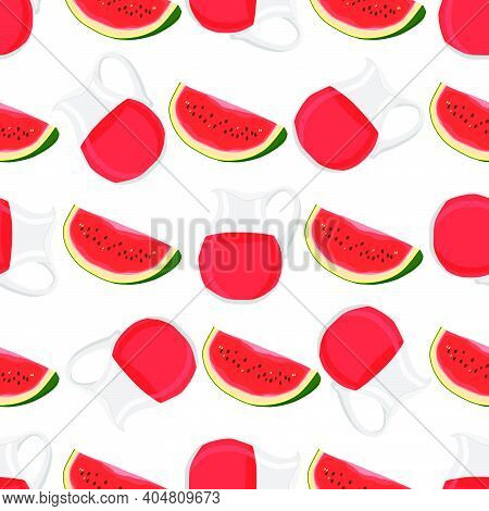 Illustration On Theme Colored Lemonade In Watermelon Jug For Natural Drink. Lemonade Pattern Consist