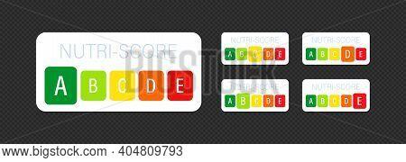 Nutri Score Vertical Stickers Set. Score System Sign. Vector Eps 10