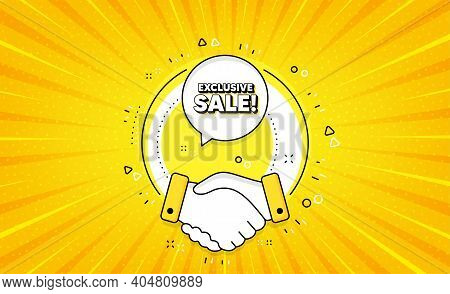 Exclusive Sale. Yellow Vector Button With Handshake. Special Offer Price Sign. Advertising Discounts