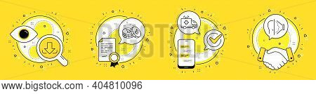 Ambulance Car, Bitcoin And Download Line Icons Set. Licence, Cell Phone And Deal Vector Icons. Face