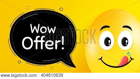 Wow Offer. Easter Egg With Yummy Smile Face. Special Sale Price Sign. Advertising Discounts Symbol.