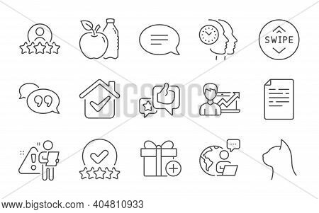 Apple, Like And Time Management Line Icons Set. Swipe Up, Success Business And Pets Care Signs. Add