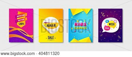 Kids Games, Special Offer And Sale Tag Promo Label Set. Sticker Template Layout. One Week Sign. Play