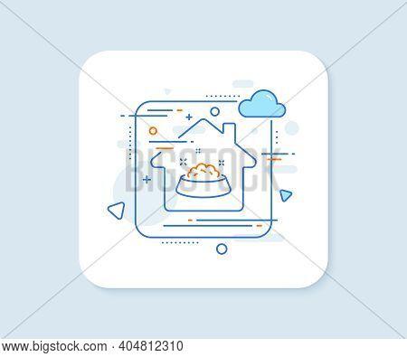 Dog Feeding Line Icon. Abstract Vector Button. Pets Food Sign. Pet Bowl Symbol. Dog Feeding Line Ico