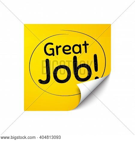 Great Job Symbol. Sticker Note With Offer Message. Recruitment Agency Sign. Hire Employees. Yellow S