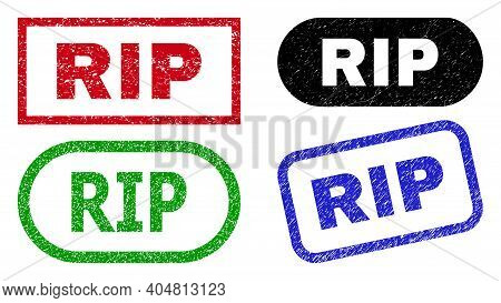 Rip Grunge Seal Stamps. Flat Vector Grunge Seal Stamps With Rip Title Inside Different Rectangle And