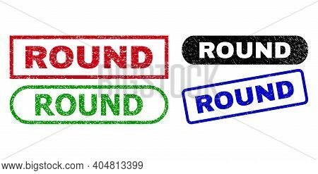 Round Grunge Watermarks. Flat Vector Grunge Watermarks With Round Title Inside Different Rectangle A