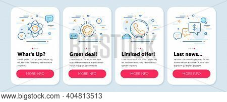 Set Of Business Icons, Such As Call Center, Atom, Gear Symbols. Mobile Screen Banners. Payment Recei