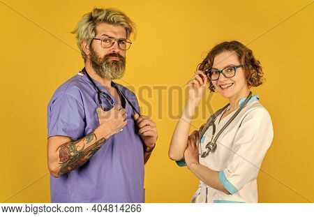 Medical Staff People. Team Of Doctor And Nurse Cooperating. Doctors In Hospital. Doctors Group. Succ