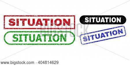 Situation Grunge Stamps. Flat Vector Grunge Seal Stamps With Situation Phrase Inside Different Recta