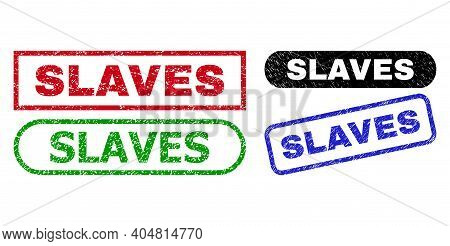 Slaves Grunge Seal Stamps. Flat Vector Distress Seal Stamps With Slaves Title Inside Different Recta