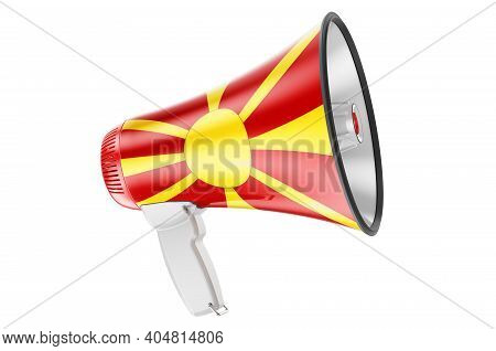 Megaphone With Macedonian Flag, 3d Rendering  Isolated On White Background