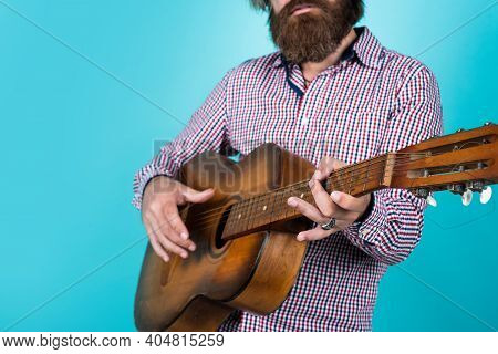 Only Music That Matters. Country Music Concept. Bearded Man Play Acoustic Guitar. Casual Guy Express