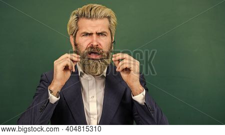 Announcement School Courses. Introduced And Welcomed By University. Teacher Explain Topic. Man Teach