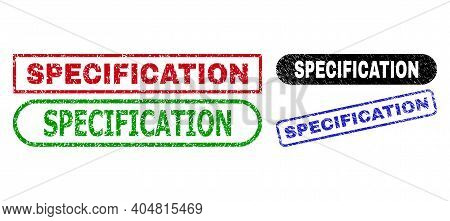 Specification Grunge Watermarks. Flat Vector Scratched Seal Stamps With Specification Phrase Inside