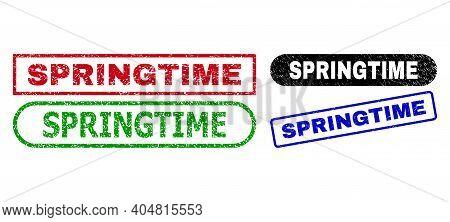 Springtime Grunge Seal Stamps. Flat Vector Textured Seal Stamps With Springtime Phrase Inside Differ