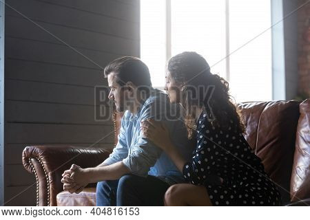 Young Wife Comfort Hug Unhappy Offended Husband