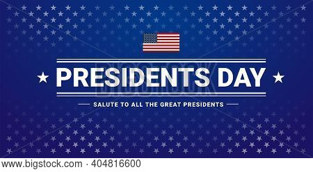 Presidents Day Banner With Presidents Day Lettering, Usa Flag, Dark Blue Background, Stars And Strip
