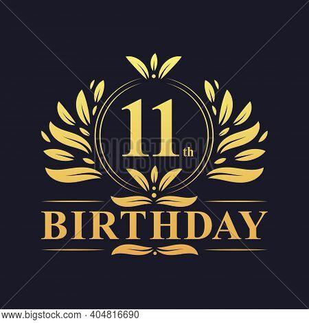 11th Birthday Design, Luxurious Golden Color 11 Years Birthday Celebration.
