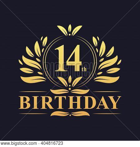 14th Birthday Design, Luxurious Golden Color 14 Years Birthday Celebration.
