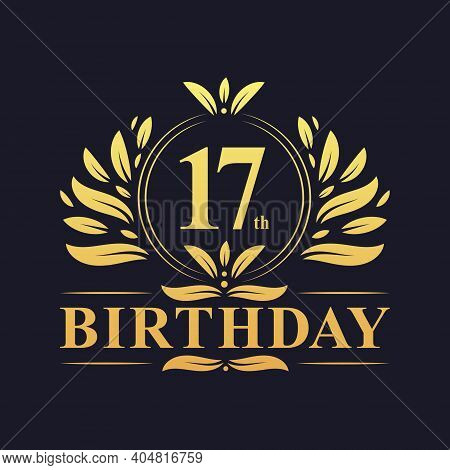 17th Birthday Design, Luxurious Golden Color 17 Years Birthday Celebration.
