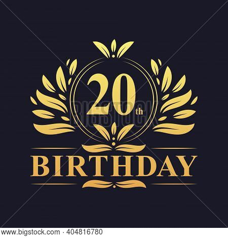 20th Birthday Design, Luxurious Golden Color 20 Years Birthday Celebration.