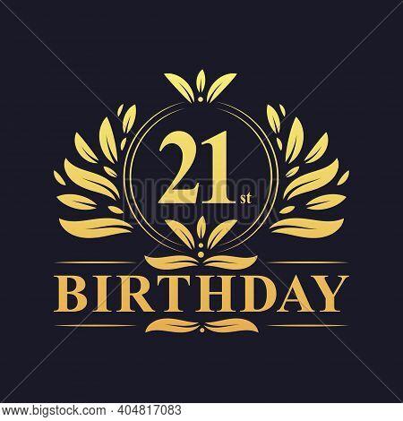 21st Birthday Design, Luxurious Golden Color 21 Years Birthday Celebration.