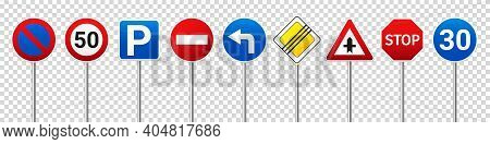 Road Highway Regulatory Signs Set. Traffic Control And Lane Usage. Stop And Yield. Vector Illustrati