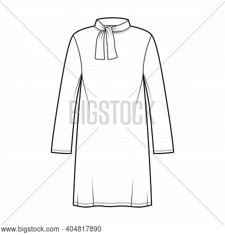 Tunic Sweater Technical Fashion Illustration With Tie Stand-away Collar, Long Sleeves, Oversized, Kn