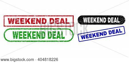 Weekend Deal Grunge Seals. Flat Vector Distress Seals With Weekend Deal Tag Inside Different Rectang