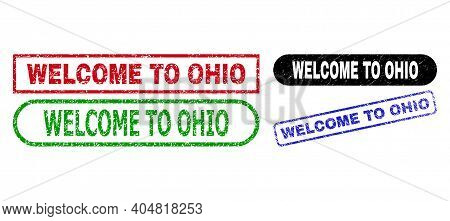 Welcome To Ohio Grunge Seal Stamps. Flat Vector Textured Watermarks With Welcome To Ohio Tag Inside