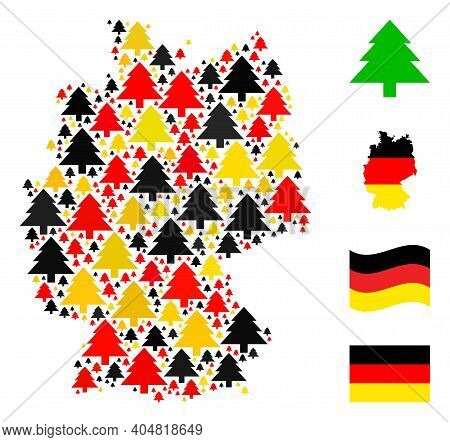 Germany Geographic Map Mosaic In Germany Flag Official Colors - Red, Yellow, Black. Vector Fir Tree