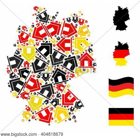 German Map Mosaic In German Flag Official Colors - Red, Yellow, Black. Vector Home Design Elements A