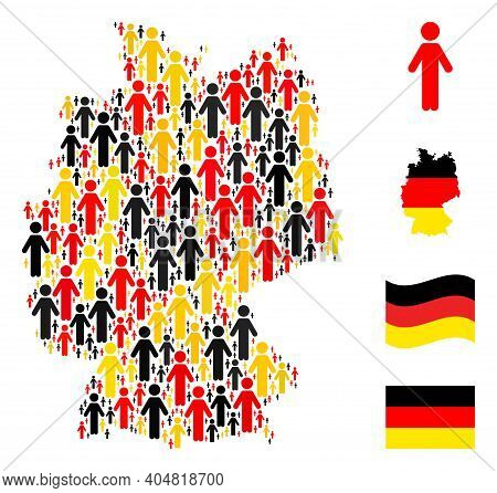Germany State Map Mosaic In Germany Flag Official Colors - Red, Yellow, Black. Vector Person Design