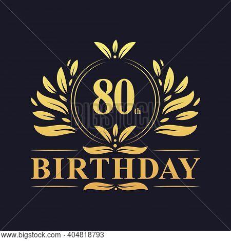 80th Birthday Design, Luxurious Golden Color 80 Years Birthday Celebration.